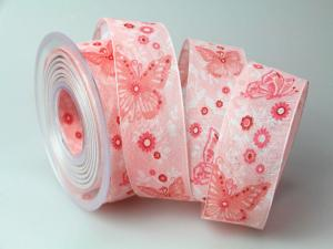 Motivband Schmetterling 40mm rosa mit Draht - Schleifenband günstig online kaufen!