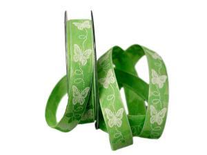 Motivband Schmetterling hellgrün ohne Draht 25mm