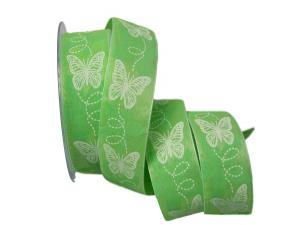 Motivband Schmetterling hellgrün ohne Draht 40mm