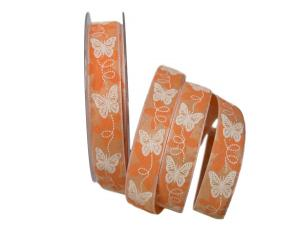 Motivband Schmetterling orange 25mm