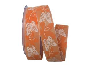 Motivband Schmetterling orange 40mm