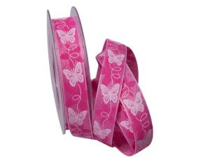 Motivband Schmetterling pink 25mm