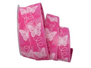 Motivband Schmetterling pink 40mm