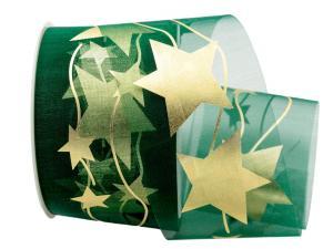Organza Stern grün ohne Draht 70mm