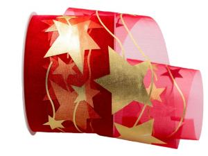 Organza Stern rot ohne Draht 70mm