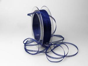Organzabändchen 3mm dunkelblau ohne Draht