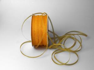 Organzabändchen 3mm gelb ohne Draht