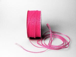 Organzabändchen 3mm pink ohne Draht