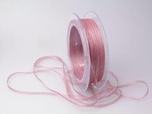 Organzabändchen 3mm rosa dunkel ohne Draht