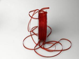 Organzabändchen 3mm rot / rost ohne Draht