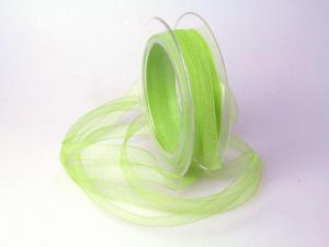 Organzabändchen Hellgrün ohne Draht 10mm
