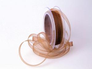 Organzabändchen Braun ohne Draht 10mm