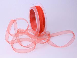 Organzabändchen  Rot ohne Draht 10mm
