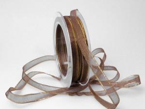 Organzaband 10mm braun mit Goldkante ohne Draht - Schleifenband günstig online kaufen!