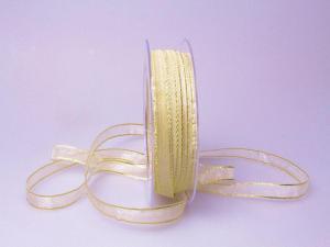 Organzaband 10mm creme mit Goldkante ohne Draht