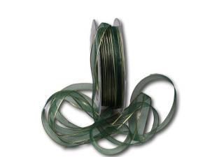 Organzaband 10mm grün mit Goldkante ohne Draht - Schleifenband günstig online kaufen!