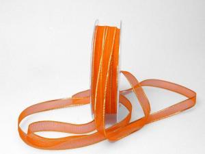 Organzaband 10mm orange mit Goldkante ohne Draht