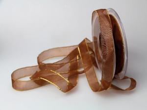 Organzaband 15mm braun mit Goldkante ohne Draht - Schleifenband günstig online kaufen!