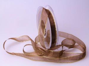 Organzaband 15mm braun mit Goldkante ohne Draht
