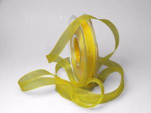 Organzaband 15mm gelb ohne Draht