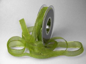 Organzaband 15mm grün mit Goldkante ohne Draht