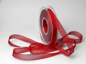 Organzaband 15mm rot ohne Draht - Dekoband günstig online kaufen!