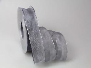Organzaband 25mm grau ohne Draht