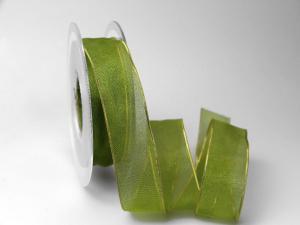 Organzaband 25mm grün mit Goldkante ohne Draht - Geschenkband günstig online kaufen!
