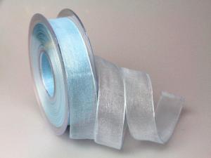 Organzaband 25mm hellblau ohne Draht - Schleifenband günstig online kaufen!