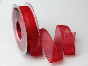 Organzaband 25mm rot ohne Draht - Schleifenband günstig online kaufen!