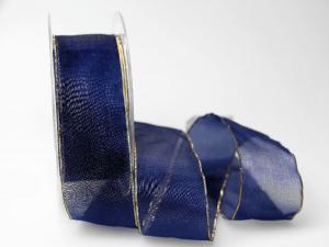 Organzaband 40mm blau mit Goldkante ohne Draht