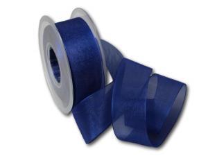 Organzaband 40mm blau ohne Draht