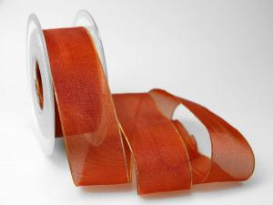 Organzaband 40mm braun mit Goldkante ohne Draht - Schleifenband günstig online kaufen!