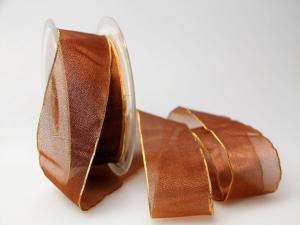 Organzaband 40mm braun mit Goldkante ohne Draht