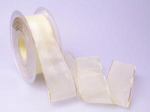 Organzaband 40mm creme mit Goldkante ohne Draht - Geschenkband günstig online kaufen!