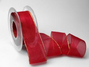 Organzaband 40mm dunkelrot mit Goldkante ohne Draht - Schleifenband günstig online kaufen!