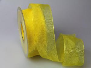 Organzaband 40mm gelb ohne Draht