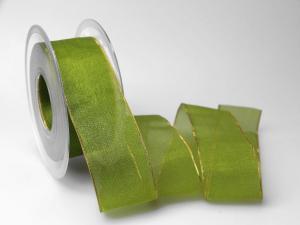 Organzaband 40mm grün mit Goldkante ohne Draht