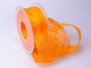 Organzaband 40mm hell-orange ohne Draht