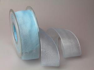 Organzaband 40mm hellblau ohne Draht