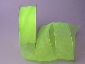 Organzaband 40mm hellgrün ohne Draht