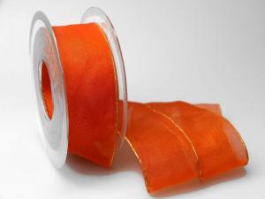 Organzaband 40mm orange mit Goldkante ohne Draht