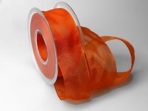 Organzaband 40mm orange ohne Draht - Schleifenband günstig online kaufen!