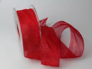 Organzaband 40mm rot ohne Draht - Dekoband günstig online kaufen!