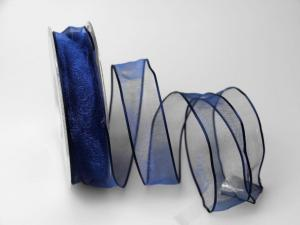 Organzaband blau 25mm mit Draht
