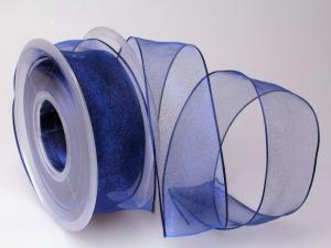 Organzaband Blau mit Draht 40mm - Dekoband günstig online kaufen!