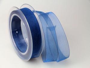 Organzaband Blau ohne Draht 25mm