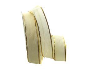 Organzaband creme / Goldkante mit Draht 25mm