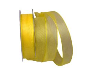 Organzaband gelb 25mm mit Draht