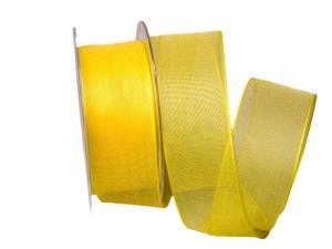 Organzaband gelb 40mm mit Draht - Schleifenband günstig online kaufen!